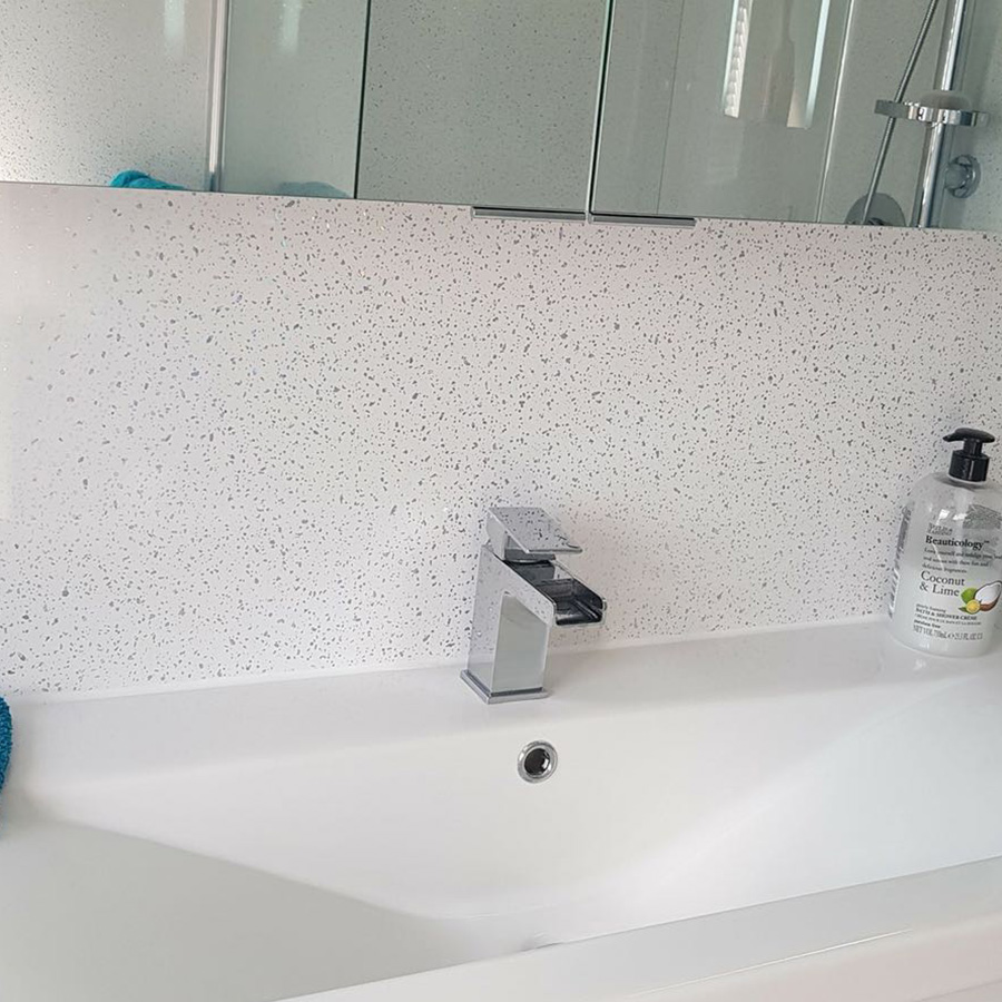 White Sparkle Shower Wall Panel | Igloo Surfaces