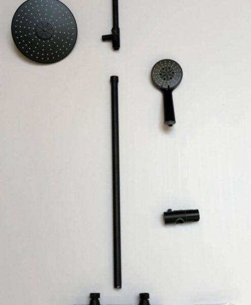Shower round black